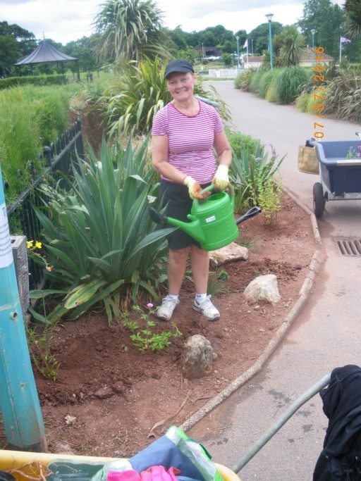 Sue watering the new plants at Young's Park.